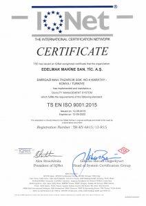 TS EN ISO 9001 2015 CERTIFICATE
