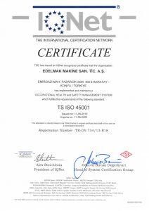 TS ISO 45001 CERTIFICATE